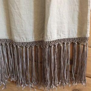 Chico's Skirts - Chico's Waistband Long Maxi Skirt Fringe Linen 1